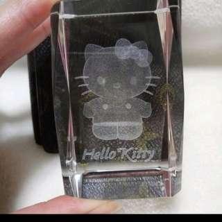 🍓絕版 HELLO KITTY 3D水晶鐳射雕擺飾