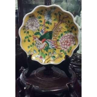 Vintage Gindezhen Rosemalle Porcelain Plate Display.
