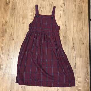Long Checkered Overall Dress