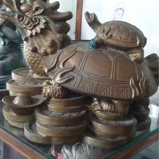Vintage Chinese Tauism Feng Shui Fortune  Dragon Turtle Display
