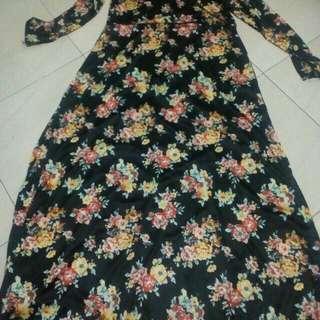 Gamis motif bunga bahan hyget mirip jersey new