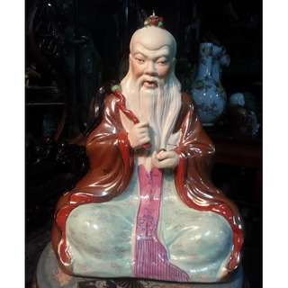 Vintage China Gindezhen Porcelain Tauism Statue Master of the ancient Tauist ( Tau Tek Tiean Chun )