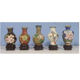 Vintage miniature cloisonne vases set of 5 display wood stand circa 1950s
