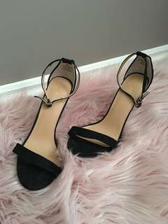 Black thin heeled sandals