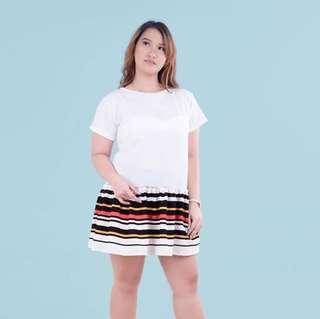 Plus size White stripe dress HTP