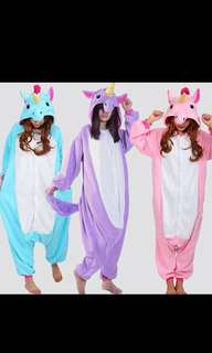 Unisex cartoon Unicorn Onesie costumes sleepwear cloth