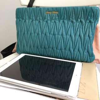 Authentic Miu Miu Matelasse Clutch Bag in Turquoise
