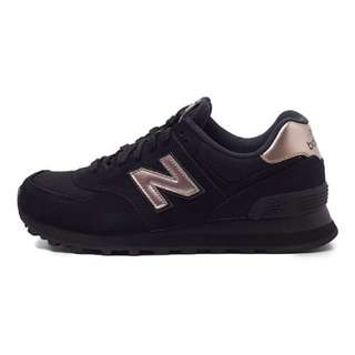 New Balance 574 (Black w Rose Gold Detail)