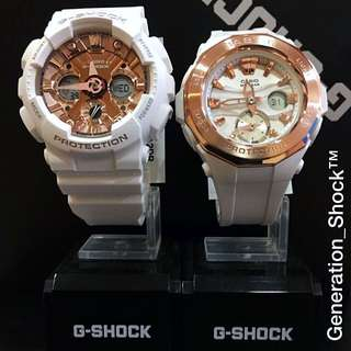 COUPLE SET  : 1-YEAR OFFICIAL WARRANTY: 100% ORIGINAL AUTHENTIC BABY-G-SHOCK RESISTANT ABSOLUTELY TOUGHNESS in SNOW-WHITE ROSE GOLD Best Gift For Most Rough Users: BGA-220G-7ADR & GMA-S120MF-7