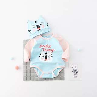 #Baby30 Cute Tiger baby romper with cap (come with box)