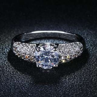 925 GENUINE SILVER ENGAGEMENT RING P56