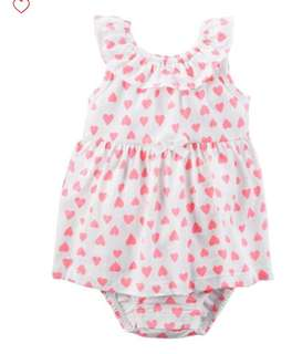 *6M* Brand New Carter's Heart Sunsuit For Baby Girl