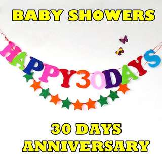 HAPPY 30 DAYS Baby Shower Fabric Bunting Banners Flags