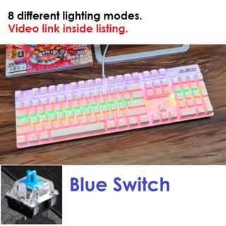 🚚 Cotton Candy Mechanical Gaming Keyboard (Blue Switch)