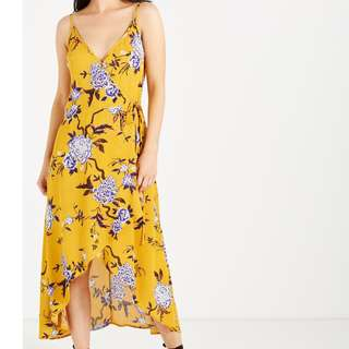 NEW Yellow Wrap Dress with Floral Details High-low Cut Cotton On RRP 1500