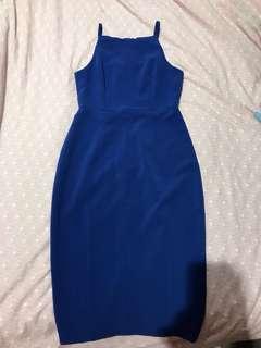 H&M royal blue halter neck pencil dress
