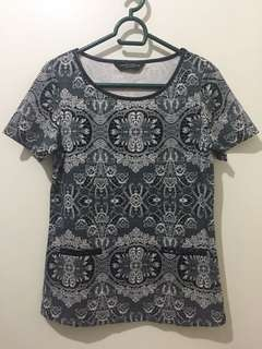 Dorothy Perkins Paisley Print Top (with leatherette collar)