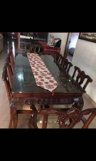 Meja makan jati ukir 8 kursi ( carving teak table 8 chairs ).