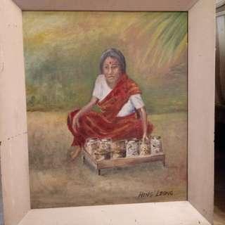 60's Kacang Putih seller vintage Oil painting