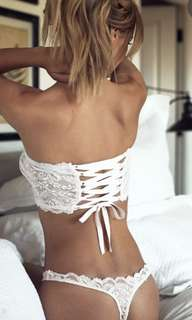 Lace top ribbon and g string set
