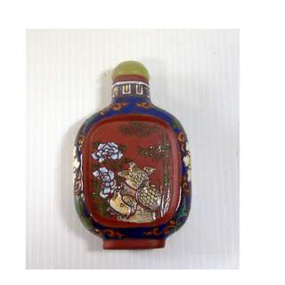 Vintage hand crafted Yixing Zisha snuff bottle birds floral bamboo Qing Period
