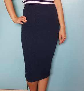 Forever 21 Navy Blue Midi Skirt