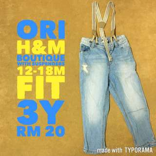 Authentic H&M Boys Jeans with Suspenders Size 12-18m fit up to 3y