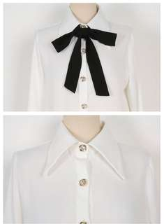 Brand New Korean Self-Tie Bow Blouse
