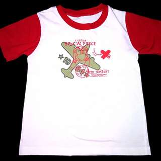 white and red shirt w/plane print 2 to 3y. o