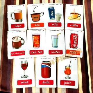 👍🏻🌈DRINKS🌈FLASH CARDS(11PCS)