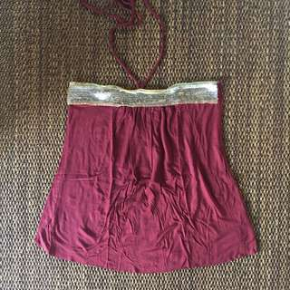 Sequined Maroon Halter