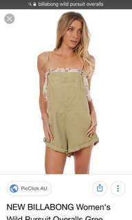 Billabong Wild Pursuit Overalls XS/6 Khaki