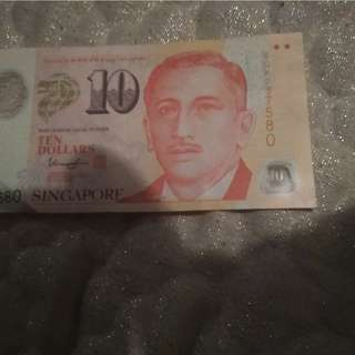 10 dollar Singapore note with serial numbers