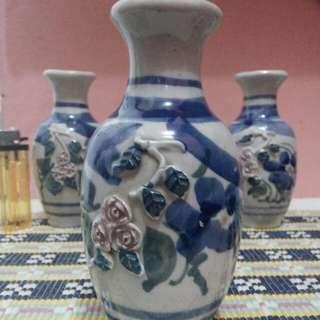 Paket 3 vas bunga guci keramik