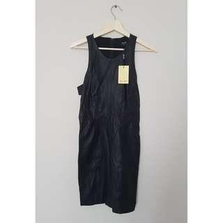 Black Leather Bardot Cutout Dress *Size 10/Never Worn*