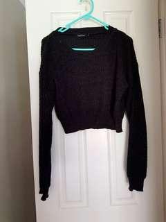 Boohoo cropped dark grey knit!