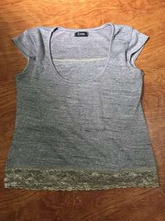 Gray Top with lace detail