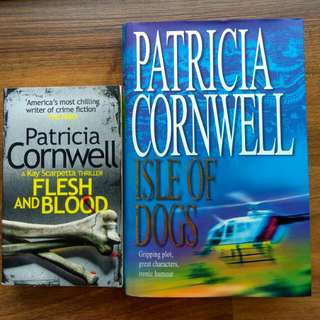 lwe sale $2.9 patricia cornwell isle of dogs, flesh & blood thriller mystery crime fiction 2for$5.80 (or$4.90each)