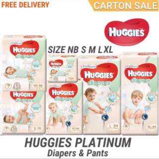 HUGGIES PLATINUM DIAPERS/PANTS CARTON SALE INCLUDING FREE DELIVERY 📦 LOCAL 🇸🇬 AUTHENTIC STOCKS...