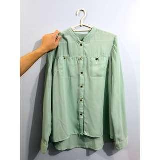 Mint Green Chiffon Long Sleeves