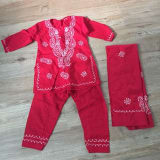 Embroidered Punjabi Suit with scarf - 4yo