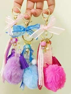 Unicorn 🦄 Hot Pink Pom Pom charm Keychain (Instock)