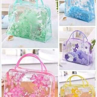 Flower Printed Transparent Bag