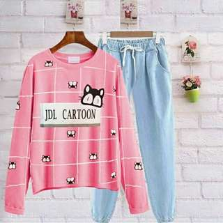 G cartoon cat set denim