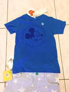 🚚 全新日本uniqlo專櫃disney迪士尼mickey米奇深藍色棉質T恤 #全新附吊牌!