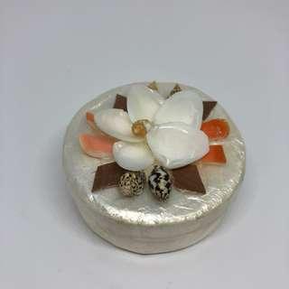 Round Native Capiz Windowpane Oyster and Shells Trinket Box