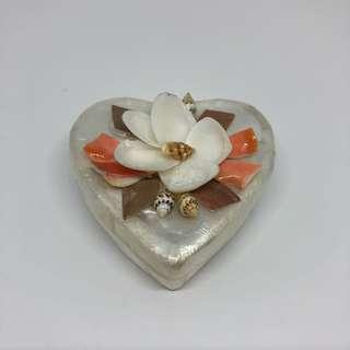 Heart Native Capiz Windowpane Oyster and Shells Trinket Box