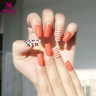 Cherry Tomato Color False Nail with Designs Shiny Long Fake Nails UV Coating Artificial Finger Nail Art Decorations