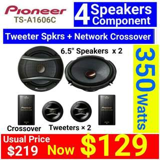 """Pioneer Component Speaker - Pioneer 4 speakers 350Watts component speakers system with 2 pcs of 20mm Soft Dome Tweeter and 2 pcs of Passive Crossover NetworK (size: 16cm/6.5"""" )Model number: TS-A1606C. Usual Price: $ 219.90. Special Price: $129"""
