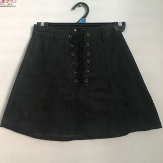 Laced up black skirt